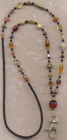 Blissful Browns and Gilded Golds Beaded ID Badge by lanyardwoman Lanyard Necklace, Opal Necklace, Diy Necklace, Necklace Designs, Beaded Jewelry, Jewelry Necklaces, Bracelets, Funky Jewelry, Diy Collier