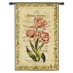 The multi-colored floral motif of this Fine Art Tapestries Botanical Garden I Wall Tapestry conveys delicate charm. Tapestry Design, Tapestry Wall Hanging, Wall Hangings, Old Postcards, Floral Motif, Botanical Gardens, Garden Art, Find Art, Framed Artwork