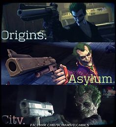 Joker - Arkham Series ~ You know shit's serious when The Joker ditches the revolver and switches to his left hand :-p  The best games ever