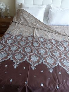 King Size Duvet Duvet Cover Brown Damask Pattern by ShoppingFest, $105.00