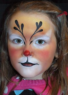 Christmas Reindeer face painting design by Mary Fairgrieve