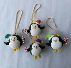 super fun penguin hand painted and decorated ornament balls Felt Christmas Decorations, Diy Christmas Ornaments, Holiday Crafts, Polymer Clay Ornaments, Polymer Clay Projects, Christmas Makes, Noel Christmas, Polymer Clay Christmas, Clay Miniatures