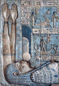[EGYPT 29584]  'Setting of the sun in Hathor Temple at Dendera.'    A winged setting sun is swallowed by the sky goddess Nut.