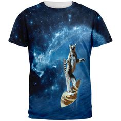 Surfing Lemur IN SPACE All Over Adult T-Shirt | AnimalWorld.com