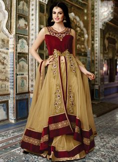 Enormous Beige and Maroon Coloured Net Embroidery Work Indian Designer Indo Western Lehenga At Best Price By Uttamvastra - Online Shopping For Women