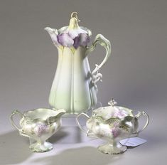 RS Prussia Chocolate Pot | Antique R.S. Prussia Tea Set..lovely delicate lilac shade on ivory ...