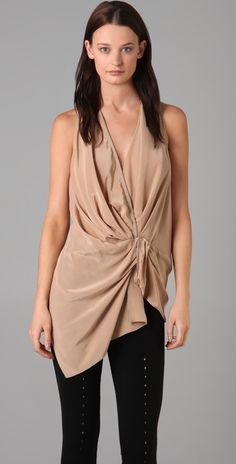 Alexander Wang Sleeveless Draped Top with Zip Detail thestylecure.com