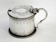 CHARLES THOMAS & GEORGE FOX (worked from c.1845) ANTIQUE VICTORIAN SOLID SILVER MUSTARD POT LONDON 1856 (1856 London)