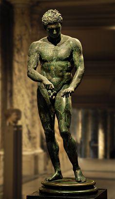 Apoxyomenos (athlete scraping his body with a strigil).  Bronze. Roman copy of the bronze original by Polykleitos ca. 320 B.C.