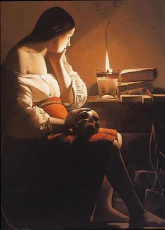 ''The Magdaline with the smoking Flame'' by Georges de La Tour {ca.1640}