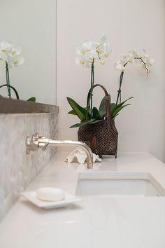 Master bathroom remodel; undermount sink; Caesarstone countertop; wall mount faucet; orchid| Interior Designer: Carla Aston / Photographer: Tori Aston
