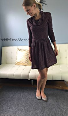 Very cute like the color too - Loveappella Arti Funnel Neck Fit and Flare Dress Stitch Fix Review
