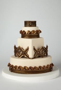 Brides: America's Prettiest Wedding Cakes | An Intricate Bronze and Gold Sculpted Cake | Cake by Sedona Cake Couture