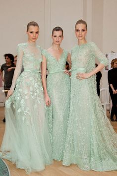 Elie Saab Couture -- All the pretty maids.would be so worth being a dreaded bridesmaid if you had Elie Saab to wear! - Well said. Elie Saab Couture, Mint Dress, Dress Up, Dress Prom, Prom Dresses, Colored Wedding Dresses, Wedding Gowns, Wedding Mandap, Wedding Shot