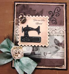 Happy Saturday! How about a vintage look sewing card for today's post! This is from designer Nina Brackett's new dies called Sewing Elemen...