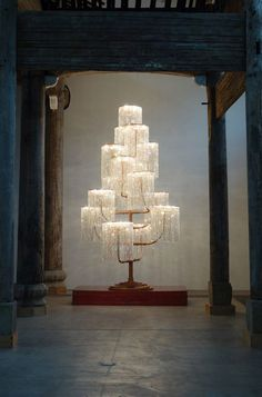 "Ai Weiwei Splits a Temple Between Two Beijing G.- Ai Weiwei Splits a Temple Between Two Beijing Galleries Ai Weiwei, ""Chandelier"" at Galleria Continua - Instalation Art, Escalier Design, Deco Luminaire, Wei Wei, Ai Weiwei, Metal Tree Wall Art, Metal Art, Deco Design, Light Art"