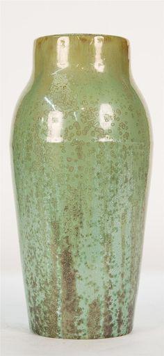 <b>TALL FULPER POTTERY VASE</b> <br  /> with a green crystalline flambe glaze; bearing <i>Fulper</i> on base; height: 12 1/4 in.