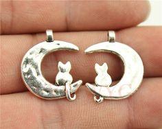 Wysiwyg 6 шт./лот 22 * 18 мм античная посеребренная луна прелести кошка