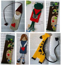 Cute Bookmarks - Pictures only - view pics and make a paper pattern.  Should be quite easy to do.