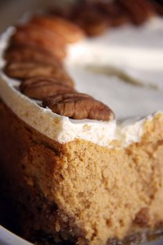 pumpkin bourbon cheesecake with a shortbread crust and pralines/cream topping...