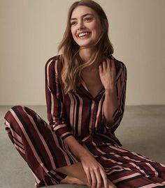 Reiss Tilda Striped Satin Pyjama Bottoms Pajama Shirt b4b27dd0e