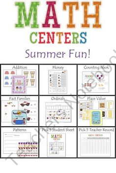 Math Center- Summer themed Math activities