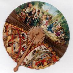 .Ventarola espanhola  Ventarola de folha, em papel pintado, com cenas típicas espanholas.  Cabo em madeira. Século XX. Espanha.