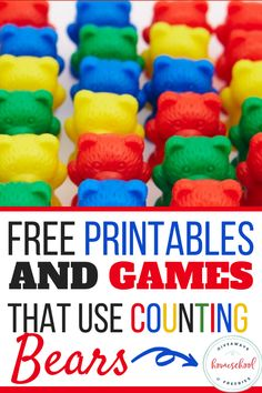 Little ones will love using these printables, games and activities with their Counting Bears! Teach kids numbers, colors, patterns, and more. Bear Activities Preschool, Number Games Preschool, Preschool Centers, Teaching Numbers, Counting Activities, Free Preschool, Preschool Printables, Free Printables, Number Games For Preschoolers