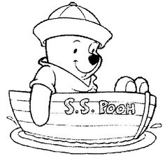Winnie the pooh in boat free colouring  page, easy to print