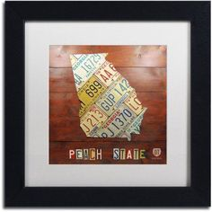 Trademark Fine Art 'Georgia Map' Canvas Art by Design Turnpike, White Matte, Black Frame, Size: 11 x 11, Multicolor