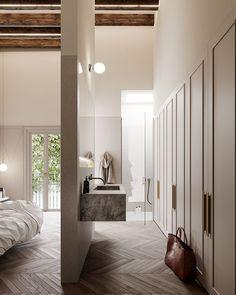 Open-concept bath, wardrobe and master bedroom design Interior, Bedroom Interior, Decor Interior Design, Cheap Home Decor, Home Decor, Modern Interior Design, Interior Design, Modern Interior, Interior Design Bedroom