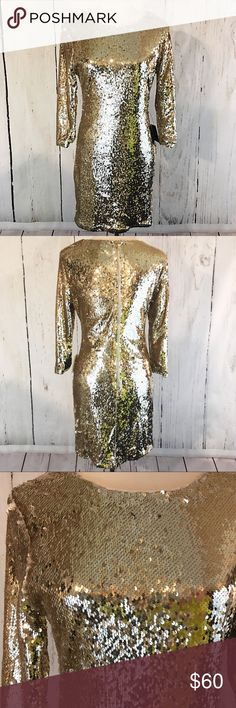NWT Lulus Dress Beautiful Lulus NWT Gold Sequin Dress. Sequins Are Flippable Like Those Pillows You Can Buy. Other Side Is A Champaign Type Color. Stretchy. Size M • Armpit To Armpit 17 Inches • Shoulder To Hem 33 Inches Dresses Mini