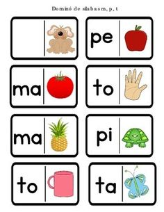 Domino con las silabas de las letras m,p,t is a fun activity for students to practice syllables with these letters. Included are 72 dominoes and it can be used during literacy station or intervention time. Enjoy!