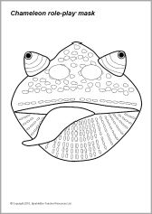 Frog cut out template frog mask colouring pages dyi for Eric carle chameleon template