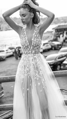 liz martinez 2019 bridal sleeveless deep v neck heavily embellished bodice tulle skirt romantic soft a  line wedding dress open scoop back chapel train (1) zv -- Liz Martinez 2019 Wedding Dresses   Wedding Inspirasi #wedding #weddings #bridal #weddingdress #bride ~