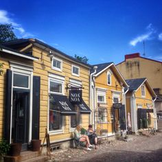 Old houses, now retail in Porvoo. Finland.
