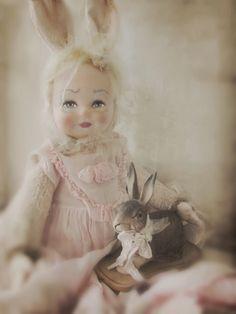 Where nostalgia and romance meet . Paper Dolls, Art Dolls, Big Eyes Artist, Hunny Bunny, Easter Egg Crafts, Rabbit Art, Doll Crafts, Vintage Dolls, Doll Clothes