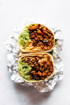 OMG these Vegan Mega-Burritos are SO GOOD! stuffed with a sweet potato, cauliflower, and walnut taco meat filling, plus avocado, salsa, and vegan queso! Best vegan burrito ever. #vegan #burrito #tacomeat | pinchofyum.com Vegan Burrito, Vegan Queso, Vegan Wraps, Wrap Recipes, Pasta Recipes, Burritos, Enchilada Recipes, Vegan Main Dishes, Vegan Vegetarian
