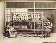 Manufacturing Silk, ca. 1880-1890 by Kusakabe Kimbei