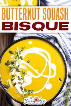 Butternut Squash Bisque is a rich, but healthy vegetarian fall soup sweet and creamy with just a touch of heat. This butternut squash bisque is the perfect way to start fall. Even better than a PSL. There. I said it. It's just a touch sweet from the ripe roasted butternut squash and apple. Plus, it has a little spicy kick from the jalapeno. Simple fresh ingredients, healthy, and so flavorful and delicious. | The Gracious Wife @thegraciouswife #fallsouprecipes #thanksgivingbisque #thegracio