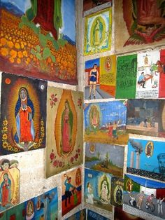 Views of retablos on the narrow stairway, filled with retablos that Alfredohas painted over the years, retablos & Ex-votos that are  in his two books.