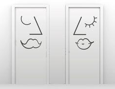 adesivos muito simples e criativos para sinalização de banheiros. A Biakadon pode fazer adesivos como estes para você? Sim podemos. Entre em contato conosco pelo site www.biakadon.com.br