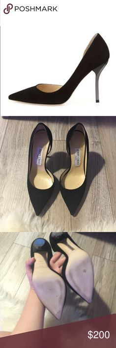 Jimmy choo black Willis d'Orsay pumps sz 35.5 Worn once. No bag or box. I added a heel grip on the back of the heels. Suede material. No box or just bag Jimmy Choo Shoes Heels