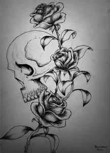Skull And Roses Tattoo Design thinking about getting this along my ribs