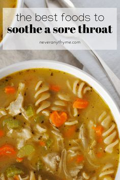 Best foods to soothe a sore throat. Gentle and nutritious foods that are easy on a sore throat and give you the nutrients you need to feel better soon. Healthy Dinner Recipes, Soup Recipes, Whole Food Recipes, Cooking Recipes, Best Sick Food, Good Food, Foods For Sore Throat, Kitchen Magic, Runny Nose