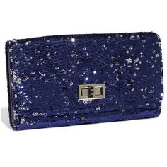 Top Choice Sequin Clutch Navy Blue One Size (34 BRL) ❤ liked on Polyvore featuring bags, handbags, clutches, purses, accessories, bolsas, women, navy clutches, chain handle handbags and navy handbags