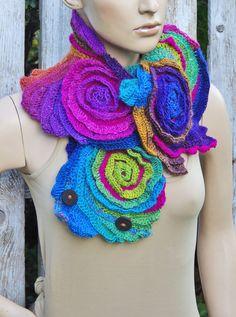 Crochet Scarf  Roses  Unique Capelet Neck Warmer Freeform crochet Blue Green Purple Red rainbow Womens scarf, Freeform Crochet scarf/gift