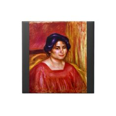 Gabrielle with red blouse by Pierre Renoir Ceramic Tiles