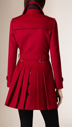 Parade red Pleat Detail Wool Cashmere Trench Coat - Image 3