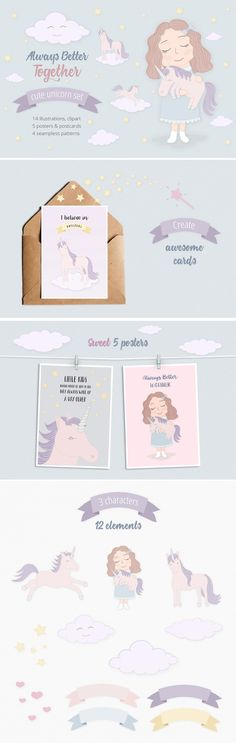 ONLY $8 Cute Funny Unicorn Illustration Set.  It includes kit of more than 20 sweet vector, fantasy drawing clipart elements made in kids sketch style, looks magic and cool. You can easily use clipart pics pack for cards, prints, posters with quotes, seamless patterns, children books, birthday invites, promotion, unique t-shirt prints, stickers, wallpaper design images or backgrounds and another artworks for sale or use for coloring book pictures or pages.